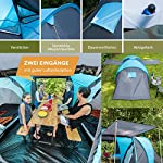 Skandika Hammerfest Family Dome Tent with 2 Sleeping Cabins, 200 cm Peak Height, Blue, 4-Person 3