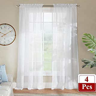 RYB HOME White Sheer Curtains - Bedroom Privacy Sheer Drapes for Bathroom/Washroom Window Decor, Air Through Light Disperse Voile Panels for Kitchen Living Room, W 60 x L 63, White, 4 Panels