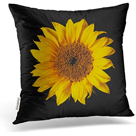 Emvency Throw Pillow Covers Sunflower Yellow On Black Sun Flowers Decor Pillowcases Polyester 16 X 16 Inch Square Hidden Zipper Home Cushion Decorative Pillowcase Home Kitchen