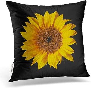 Emvency Throw Pillow Covers Sunflower Yellow On Black Sun Flowers Decor Pillowcases Polyester 16 X 16 Inch Square Hidden Zipper Home Cushion Decorative Pillowcase