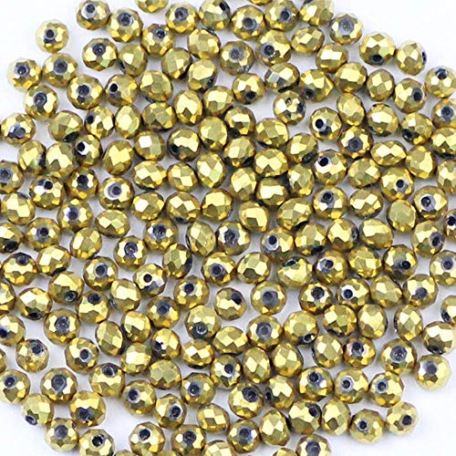 3mm Faceted Flat Round Austrian Crystals Loose Bead 200pcs Plating AB Glass Ball for Jewelry Necklace Bracelet g DIY-Golden