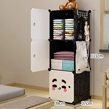 Wardrobe Simplicity Closet Armoire Removable Storage Plastic Withdoor Gitter Shelves Clothes Bedroom Home Dormitory Black CHE
