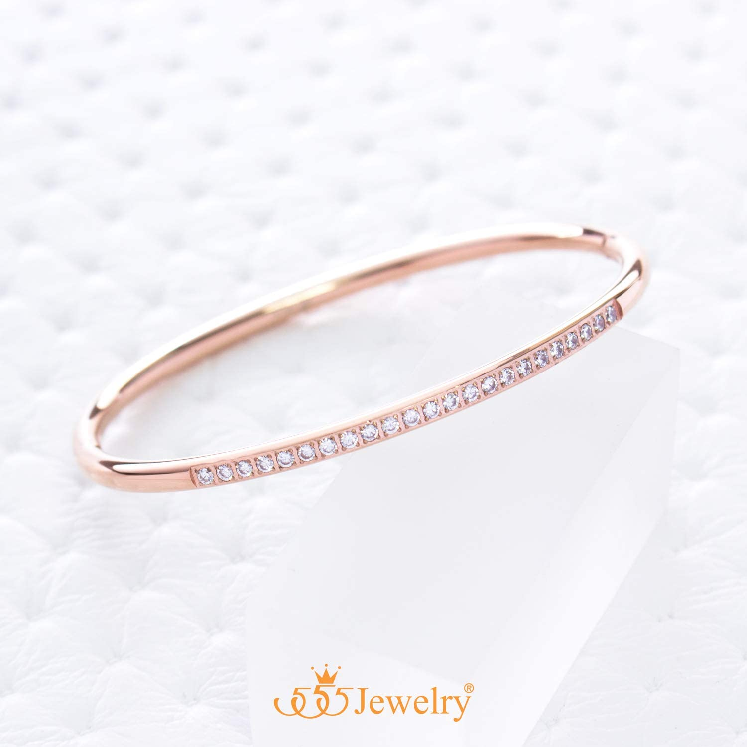 555Jewelry Stainless Steel & CZ Hinged Oval Cuff Bangle Bracelet for Women