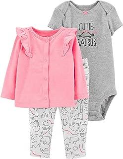 Baby Girls 3-Pc. Dino-Print Cotton Bodysuit, Pants & Cardigan Set Newborn NB Pink