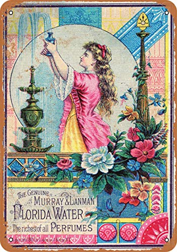 1881 Florida Water Perfume Carteles de metal vintage Carteles de chapa retro Cartel Placa Decoración de pared Bar Casa Garaje Taller al aire libre 8 × 12 pulgadas