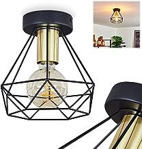 Plafondlamp Denno, plafondlamp van metaal in zwart en goud, vintage/retro look kamerlamp 1 lamp, 1 x E27 max. 60 watt, lic...