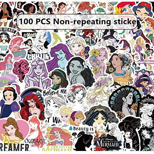 PMSMT 100 Piezas de Pegatinas de Princesa de Disney no repiten Personalidad Coche Motocicleta Barra de tracción Caja de Dibujos Animados Pegatinas de Graffiti a Prueba de Agua