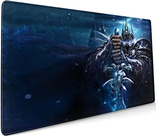 Large Size Mouse Pad for The Lich King,Non-Slip Rubber Base,Stitched Anti-Fray Edges,Waterproof,Smooth Gaming Surface,Keyb...