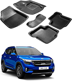 Auto Hub Car Mats Compatible with KIA Seltos (Black, Pack of 5)