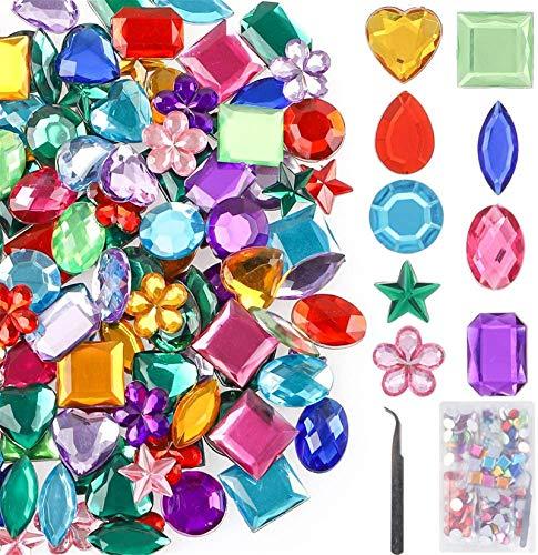 YIQIHAI 270pcs Larger Gems Acrylic Craft Jewels Flatback Rhinestones Gemstone Embellishments for Arts and Crafts Jewels, 9 Shapes, 13 to 20mm with Tweezers and Storage Box
