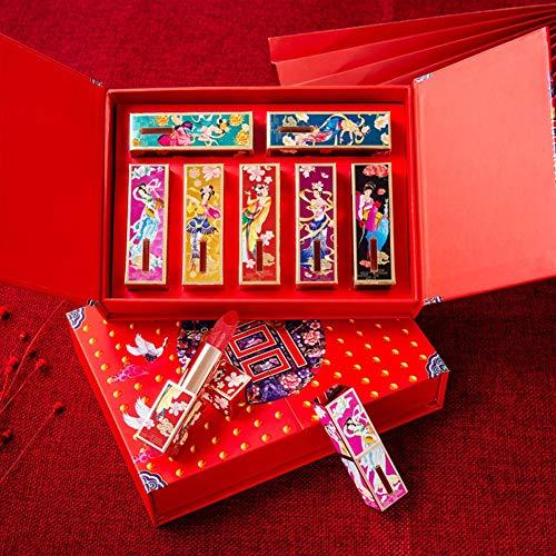 Matter Lippenstift-Set, 7-teiliges Set, samtmatt, feuchtigkeitsspendend, chinesischer Stil, mit Relief-Design, mit geschnitztem chinesischem Stil, geschnitzte...