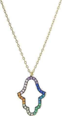 SHASHI - Rainbow Hamsa Necklace