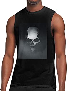 Rewinriver Casual Style Men's Sleeveless T-Shirt Print Halloween Ghost Recon Wildlands Skull Logo