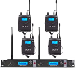 UHF Wireless in Ear Monitor System JX2070 with 4 Receivers 2 Channel 80 Set Frequency Monitoring Recording Studio Stage Pro Audio 572-603 MHz Match New FCC