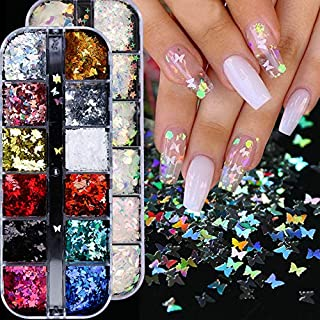 BFY Butterfly Nail Art Stickers Decals Butterfly Glitter Butterfly Nail Sequins & Heart Nail Decals Manicure Nail Art DesignForWomen NailArtSupplies Accessories, 2 Box Butterfly &Heart