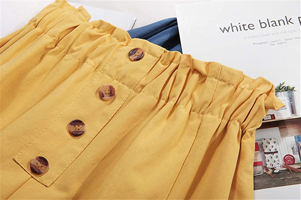 VELWINGS Woman's A-line Midi Skirt Casual Cofmrot High Waist Pleated Skater Skirt with Pockets