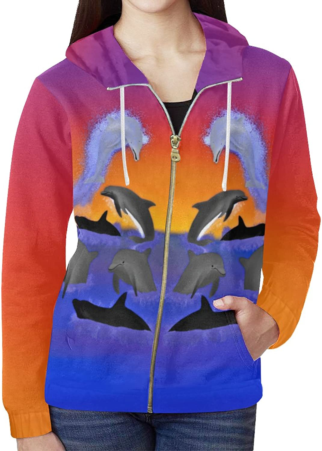 Nicole Kiefer Design A Dolphins Oean Women's All Over Print Full Zip Hoodie