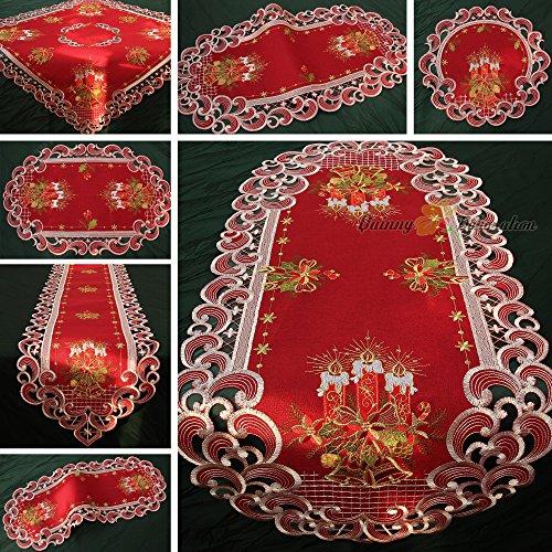 Quinnyshop Weihnachten Tischdecke Tischläufer Dunkelrot Leinenoptik Rot Kerzen Stickerei (ca. 85x85 cm Eckig)