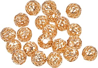 BENECREAT 30 PCS 18K Gold Plated Spacer Beads Metal Spacer Beads for DIY Jewelry Making Findings and Other Craft Work - 8x3mm, Hollow Shape
