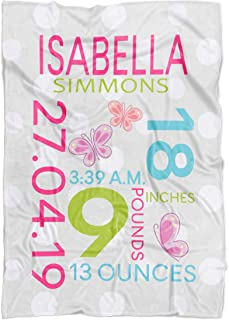 Personalized Baby Blanket with Birth Information for Girls and Boys. Customized Name Blanket from Baby's Name, Date of Birth, Weight, Length. Gift for New Born Baby, New Dad Mom (Girl-Butterfly)