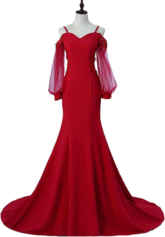 Dearta Women's Mermaid Spaghetti Straps Court Train Long Sleeves Prom Dresses