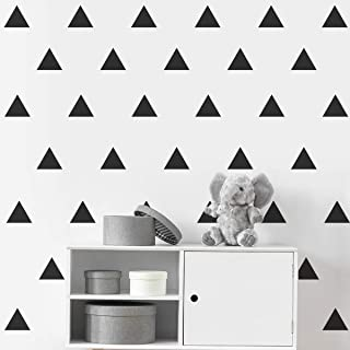 Removable Black Triangle Wall Decals, 2 Inch 128pcs, Easy To Peel Easy To Stick, Safe On Walls And Paint, Vinyl Decor By Bugybagy (Matte Black)