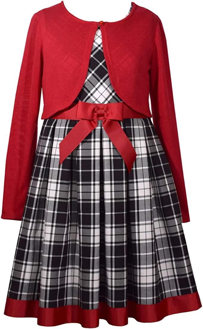 Bonnie Jean Holiday Plaid Dress with Red Sweater Cardigan for Little and Big Girls