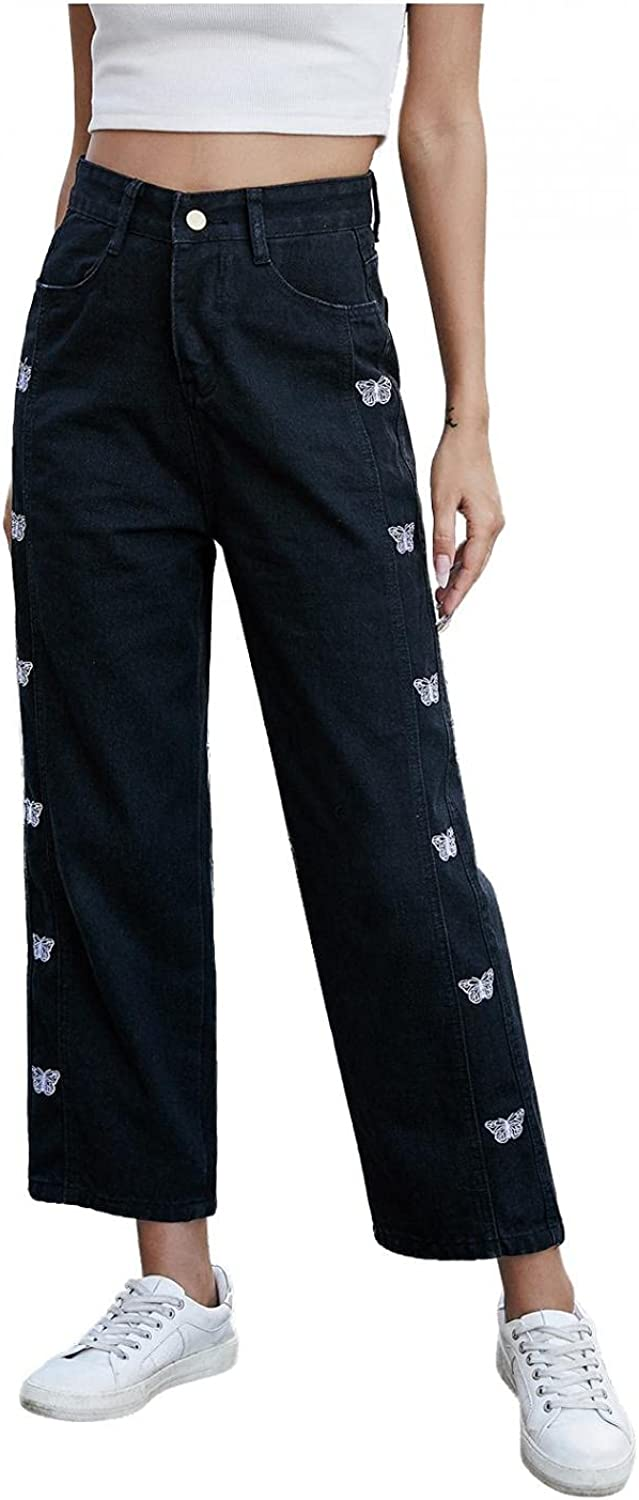 Fudule Y2K Fashion Jeans for Women Butterfly Embroidered Straight Jeans High Waisted Trendy Wide Leg Denim Pants Trouser