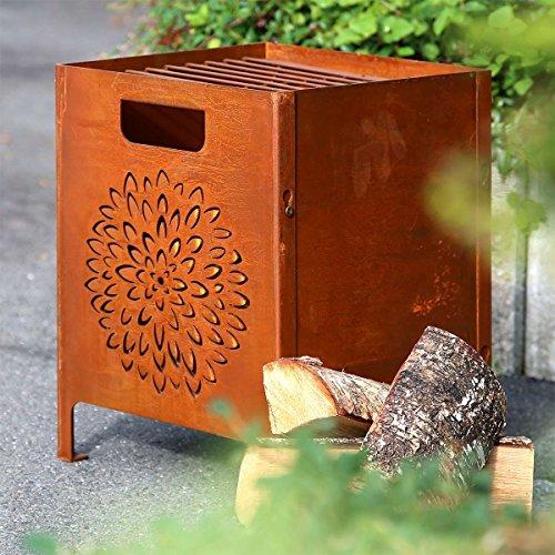 Country Garden Feuerkorb \'Vesoul\' | rustikaler Feuerkorb in Rostoptik mit eingestanztem Blütenmuster | Große Fläche, | inklusive Metallgitter, zum Grillen geeignet