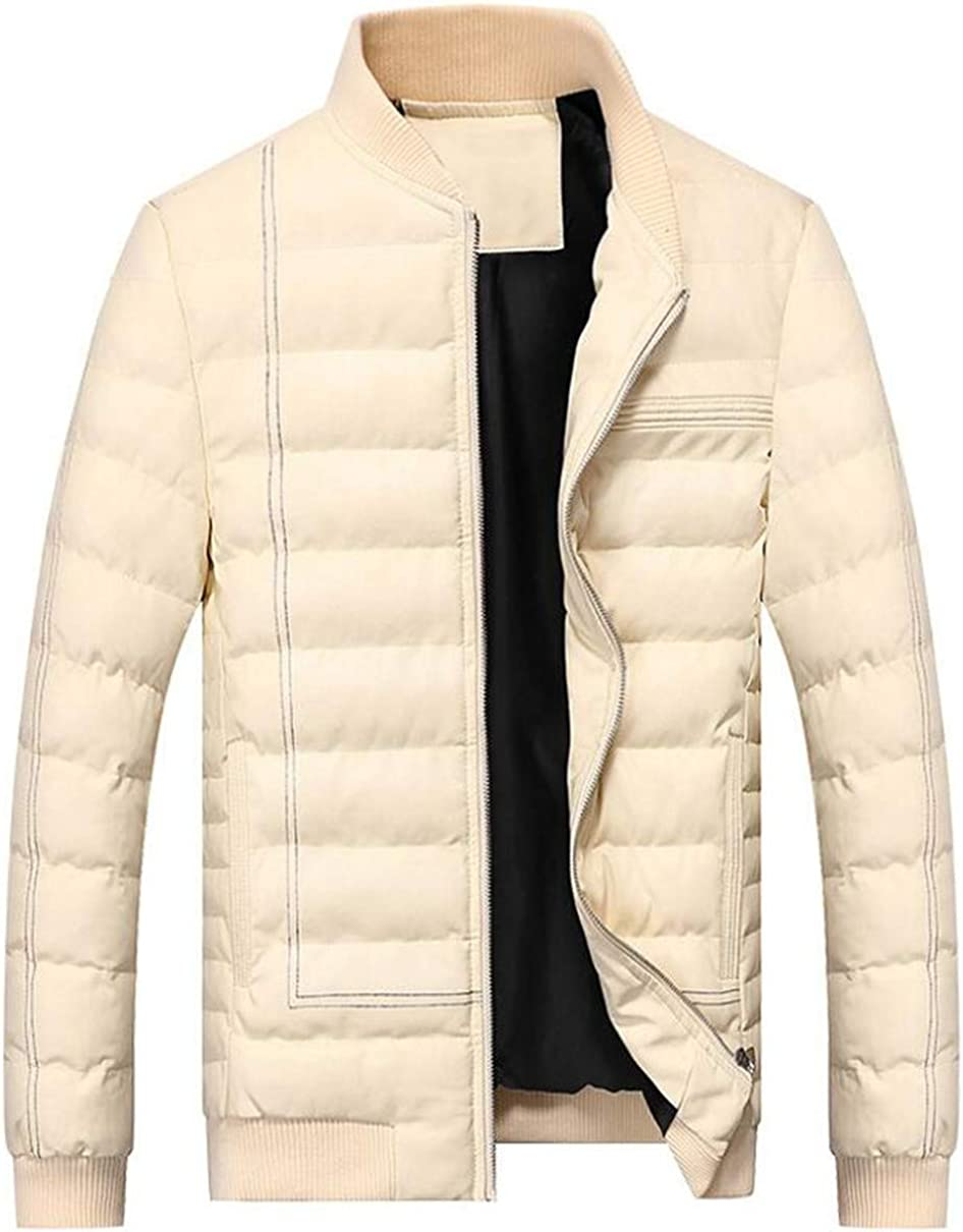 Cafuny Mens Faux PU Leather Zipper Stand Collar Casual Cotton Padded Down Jacket