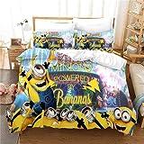 JXSMYT Ropa de cama infantil 3D Minions divertida, juego de funda nórdica y funda de almohada, ropa de cama para niños 135 x 200 cm (LCBT-1,200 x 200 cm + 2 x 50 x 75 cm)