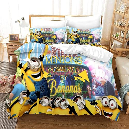 JXSMYT Ropa de cama infantil 3D Minions divertida, juego de funda nórdica y funda de almohada, ropa de cama para niños 135 x 200 (LCBT-1,155 x 220 cm + 1 x 50 x 75 cm)