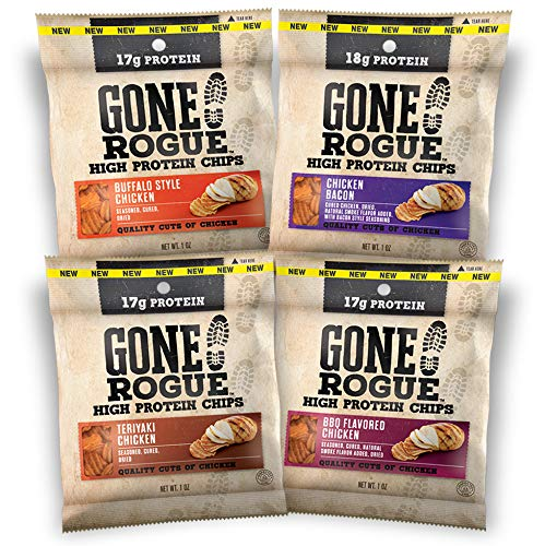 Gone Rogue High Protein Chips, Low Carb, Gluten Free, Keto Friendly Snacks - Variety Pack, 4 pack, 4 Flavors: Chicken Bacon, Buffalo Style Chicken, Teriyaki Chicken & BBQ Chicken from Gone Rogue
