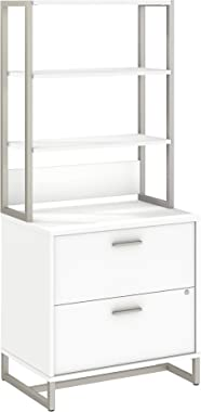 Bush Business Furniture Office by kathy ireland Method Lateral File Cabinet with Hutch, White