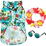 3 Pieces Pet Dog Hawaiian Costume, Includes Puppy Dog's Cool T-Shirts Summer Clothes, Funny Cute Dog Retro Fashion Sunglasses and a Colorful Wreath for Small to Medium Dog