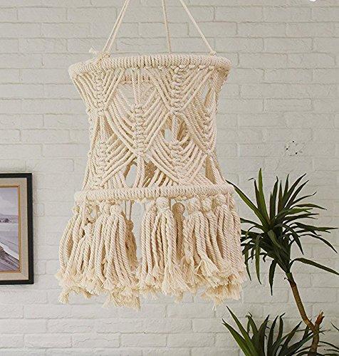 "Flber Macrame LampShade Tasseled Chandelier Boho Wedding Hanging Handwoven Home Decoration,11"" Wx 20"" L"