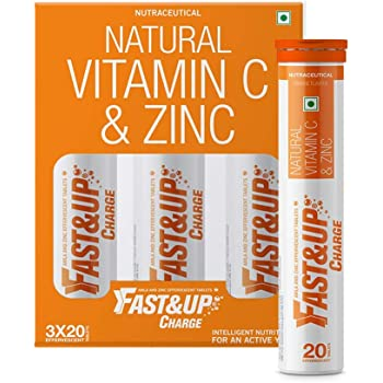 Fast&Up Charge - Vitamin C antioxidant 1000 mg - Natural Amla for Immunity - 60 Effervescent Tablets - Orange flavour