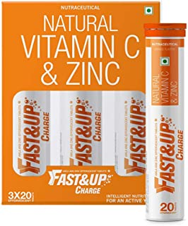 Fast&Up Charge with Natural Vitamin C and Zinc for Immunity - 60 Effervescent Tablets - Orange Flavor