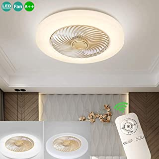 Ocultos LED Ventilador De Techo Luz De La Lámpara Del Techo Contemporáneo 72W Regulable Con Mando A Distancia Para El Dormitorio Los Niños De La Lámpara Sala De Estar Tranquilo De Iluminación,Oro