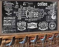 カスタム壁紙ヨーロッパの黒板新聞カフェレトロなツーリングの背景壁黒と白の文字テーマの壁紙, 350cm×245cm