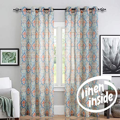 jinchan Medallion Linen Blend Curtains for Living Room 84 Inch Length Drapes Damask Pattern Flax Draperies Window Treatments for Sliding Glass Doors Bedroom Curtain Panels 1 Pair Green
