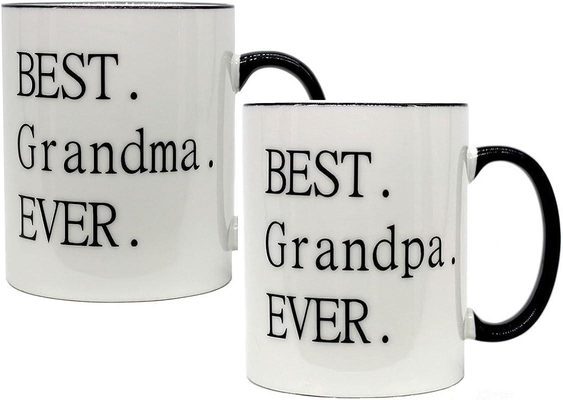 Funny Mug Best Grandma Grandpa Ever 11 OZ Ceramic Coffee Mugs Set Of 2 Novelty Christmas Birthday Gifts And Grandparents Day