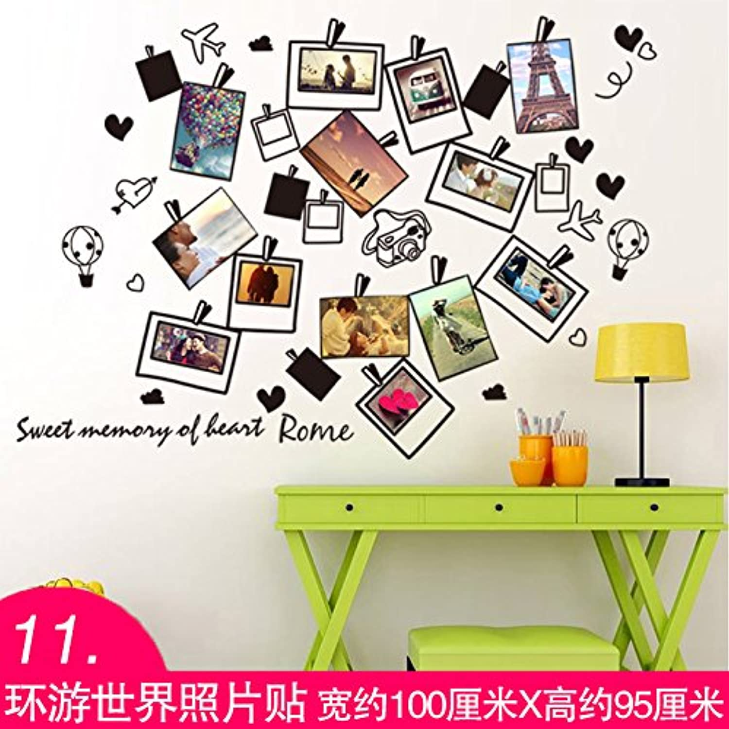 Znzbzt Wall Sticker self-Adhesive Wallpaper Wallpaper Decoration Creative Wall Stickers, 11. Travel Around The World Photo Stickers, Extra Large