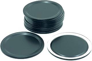 THINKCHANCES Rust Resistant Reusable Black Aluminum Airtight Flat Sealing Lids for Ball Transformer Mason Canning Jars (12...