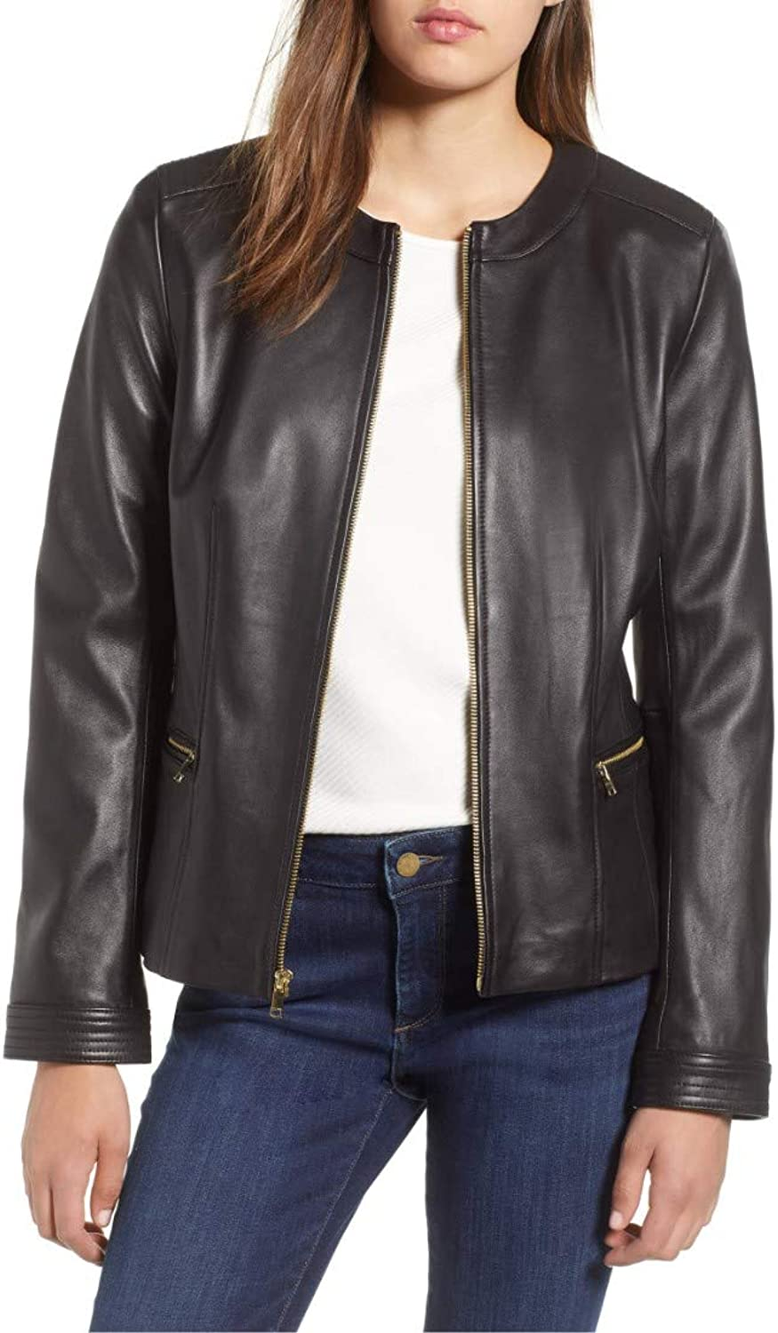 Dillo Leather Motorcycle Bomber Biker Black Real Leather Jacket for Women