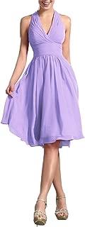 CladiyaDress Women Halter Neck Chiffon Ruffles Short Evening Dress Cocktail Gown D200LF