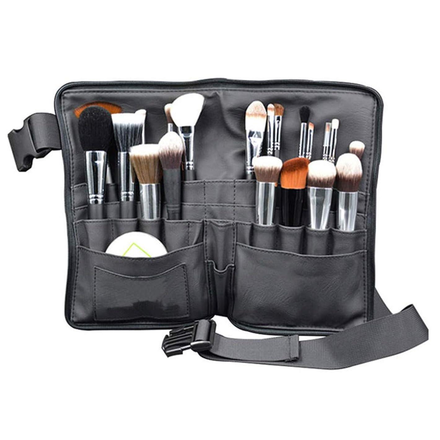 奇妙な異形愛メイクブラシバッグ Akane プロ 化粧師 専用 ウエストポーチ 超大容量 全収納 便利 防水 収納 舞台 ブラック 化粧バッグ