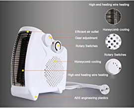QHQH Portátil Calefactor Eléctrico, 3 Modos 1000-2000 W Vertical/Horizontal Protección contra sobrecalentamiento De Ventilador Termostato Silencioso para Hogar Oficina, Blanco