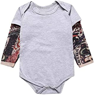 Hmlai Clearance Newborn Baby Boy Romper Fall Long Sleeve Tattoo Printed Patchwork Jumpsuit Bodysuit Cotton One-Piece Coverall