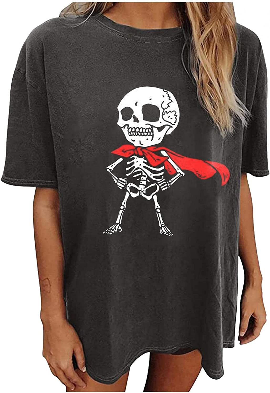 Halloween Shirt for Women Short Sleeve Halloween Party T-Shirt Funny Graphic Pumpkin Skeleton Tops Tee Blouse